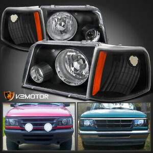 For 93 97 Ford Ranger Black Projector Headlights W Fog Corner Signal Lamps 4pc