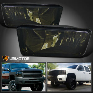 For 2007 2014 Chevy Silverado Tahoe Suburban Avalanche Smoke Bumper Fog Lights