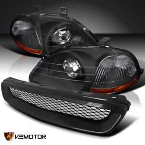 For Honda 1996 1998 Civic Black Projector Headlights Abs Mesh Front Hood Grille