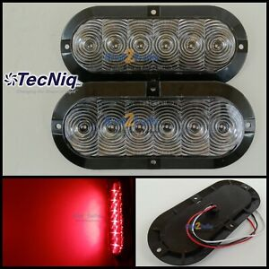2 Trailer Truck Clear red Led Surface Mount 6 Oval Stop Turn Tail Light Tecniq