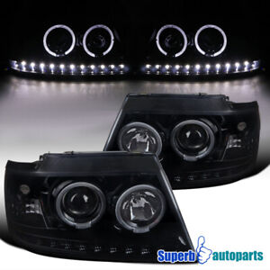 For 2002 2005 Ford Explorer Glossy Black Led Strip Halo Projector Headlights