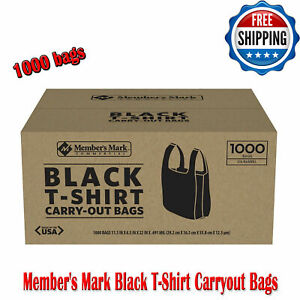 Member s Mark Black T shirt Carry Out Thank You Bags Recyclable 1 000 Ct Plastic