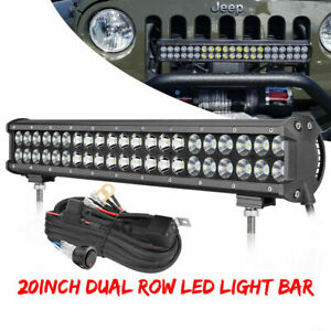 20 inch Led Light Bar Combo Spot Flood Truck Boat Work Driving 2 row With Wiring