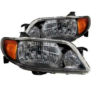 Anzo 2001 2003 Mazda Protege Crystal Headlights Black