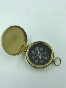 Nautical Brass Compass With Lid Vintage Antique Mini Pocket Style Pendant