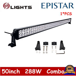 50inch 288w Led Light Bar Work Flood Spot Offroad Driving Boat Suv Atv 4wd 48 52