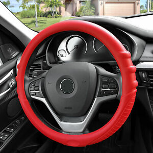 Silicone Steering Wheel Cover Top Quality Grip Marks Design Red For Auto