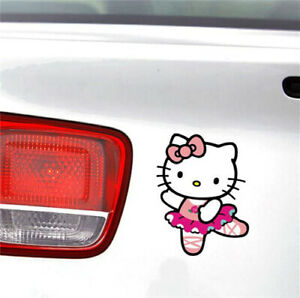 Hello Kitty Pink Car Stickers Dancing Ballet Window Wall Decals 2pcs Qp
