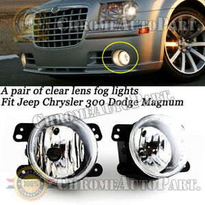 For 05 10 Chrysler 300 Dodge Jeep Magnum Clear Lens Replacement Fog Lights Lamps