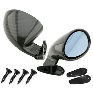 Racing Style Real Glossy Carbon Fiber Car Side Wing Rearview Mirrors Universal