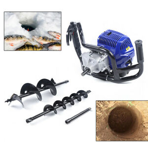 Petrol Earth Auger Fence Post Hole Borer Ground Drill 2 Bits Extension Pole 52cc