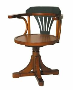 Grey Brown Wood Purser s Swivel Dining Or Desk Accent Chair Authentic Models