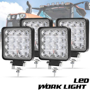 4x Square 48w Led Work Light Pods Flood Spot Lamp Car Truck Off Road Tractor
