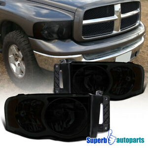 For 2002 2005 Dodge Ram 1500 2500 Headlight Head Lamps Smoke Replacement
