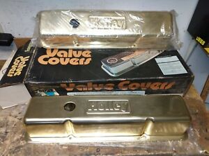 Nos Holley Valve Covers Gold Anodized Moroso Small Block Chevrolet Sbc Day 2