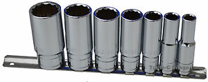 Whitworth 3 8 Drive Socket Set On Rail 7pc Chrome Vanadium