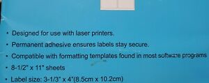 60 Labels Self Adhesive Sticker Label Shipping Paper Address 6 Tags Sheet