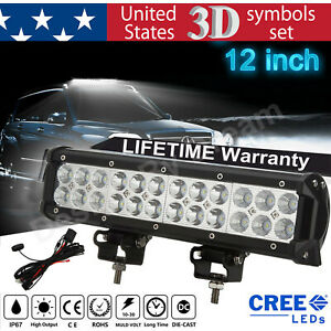 1440w Cree Led Light Bar 12 Inch Driving Work Spot Flood Combo Offroad Wiring