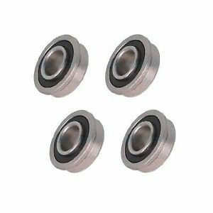 Four Precision Sealed Flanged 1 3 8 Od X 1 2 Id Bearings