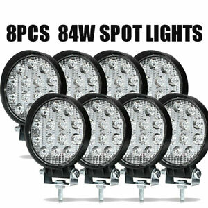 8pcs Led Work Light Spot Lights For Truck Off Road Tractor Atv Round 84w Us