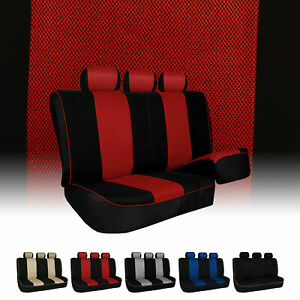 Stylish Edgy Piping Split Bench Fabric Seat Covers