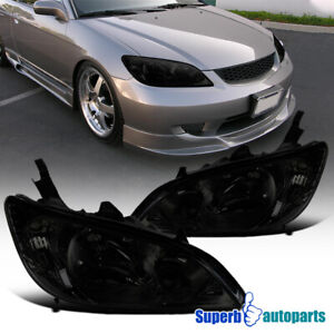 For 2004 2005 Honda Civic Smoke Tinted Left Right Side Headlights Head Lamps