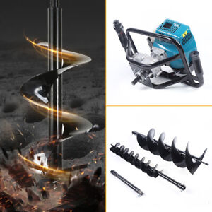 52cc Post Hole Digger Gas Powered Earth Auger Borer Fence Ground Drill With Bits