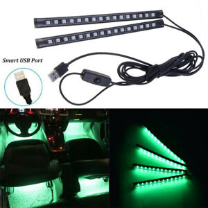 2x 32led Strip Green Atmosphere Light Car Interior Usb Ambient Footwell Lamps