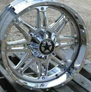 20 Chrome Lonestar Outlaw Wheels 20x9 6x139 7 6x5 5 0mm Gmc Chevy Toyota Ram