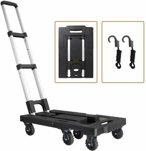 Portable Luggage Cart W 330lb Capacity Aluminum Hand Truck And Dolly 7 Wheels