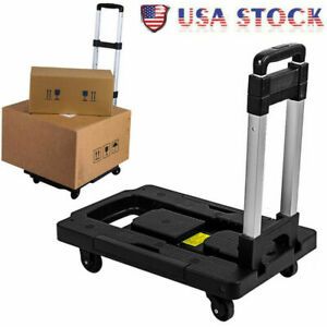 Portable Luggage Cart W 150lb Capacity Aluminum Hand Truck And Dolly 4 Wheels