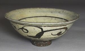 Extr Rare Fine Korean White Slip Iron Black Painted Buncheong Tea Bowl 16th C