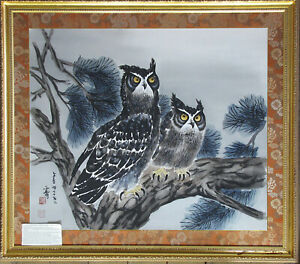 Large Painting By Kim Ki Chang 1913 2001 Two Owls Pine Tree Korean