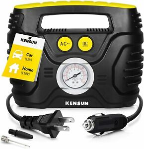 Car Tire Inflator With Gauge Small Air Compressor Portable Air Pump Analog Acdc