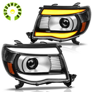 For 2005 2011 Toyota Tacoma Black Led Tube Drl Projector Headlights Headlamps