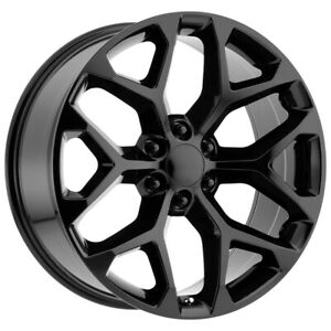 4 Replica 176 Gm Snowflake 26x10 6x5 5 31mm Gloss Black Wheels Rims 26 Inch