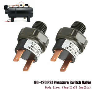 2x 90 120psi 12v 24v Air Pressure Switch Tank Mount 1 4 Npt For Train Horn