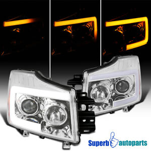 For 2004 2015 Titan 04 07 Armada Projector Headlights Sequential Led Light Bar