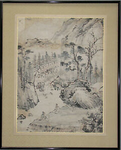 A Fine Korean Landscape Painting With Two Scholars 19th C