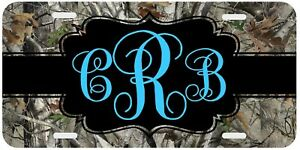 Camouflage Turquoise Monogrammed License Plate Camo Car Tag Personalized