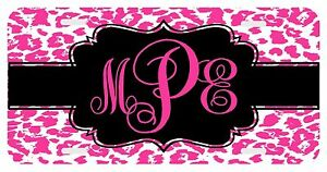 Personalized Monogrammed License Plate Auto Car Tag Cheetah Hot Pink Leopard