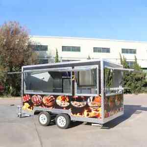 Mobile Food Cart Stainless Steel Concession Trailer Customized Food Carts
