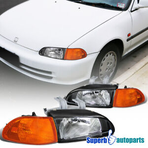 For 1992 1995 Honda Civic 4 Door Head Lights Black Corner Lamps Pair