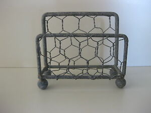 Chicken Wire Metal Decorative Business Card Display Holder Desk Country Office