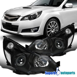 For 2010 2014 Subaru Legacy Black Projector Headlights W Parking Lamps Pair