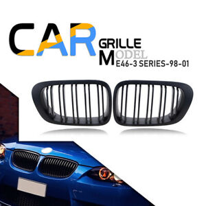 Pair Black Front Kidney Grille Hood Vent For Bmw E46 325i 325xi 330xi 2001 2005