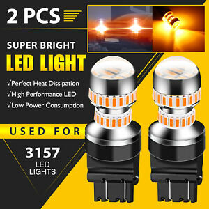 2pcs 3157 4057 4157 3057 Amber Yellow Led Turn Signal Light Bulbs Fit For Chevy