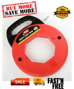 100 Ft Fish Tape Electrican Reel Pull Wires Cable Steel Hand Puller Ate Tools