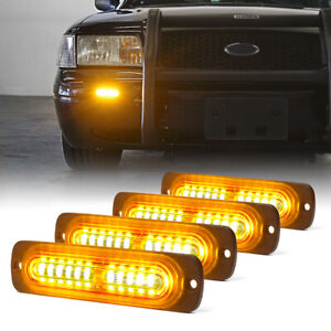 Xprite 4x Amber Yellow 12 Led Grille Side Marker Strobe Lights Emergency Warning