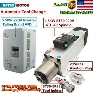 us 4 5kw Bt30 220v Atc Air Cooled Spindle Motor Automatic Tool Change Inverter